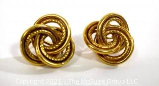 "Oversized Love Knot or French Knot 14K Gold Earrings with Pierced Clip Back.  They measure approximately 1"" wide; weigh 7.3g (Note:  Description was changed as of April 29; 5pm ET)"
