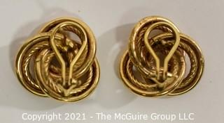 """Oversized Love Knot or French Knot 14K Gold Earrings with Pierced Clip Back.  They measure approximately 1"""" wide; weigh 7.3g (Note:  Description was changed as of April 29; 5pm ET)"""