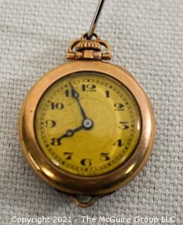 "Vintage Ladies Gold Filled Pendant Watch, Swiss 15 Jewel Movement with Fahys Case.  Measures approximately 1"" in diameter.  Untested."