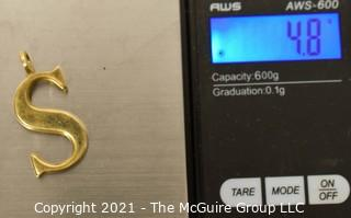 """14 kt Gold """"S"""" Initial Charm or Pendant.  It weighs approximately 4.8 Gr."""