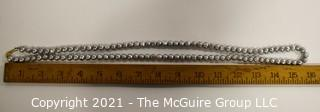 """Opera Length Grey Fresh Water Pearl Necklace wih 14 kt Gold Clasp.  Approximately 32"""" long."""