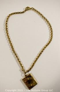 Victorian Gold Filled Locket on Heavy Link Chain.  Unmarked.