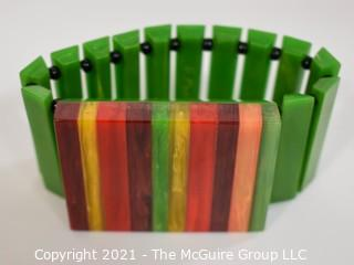 Rainbow and Green Bakelite Stretch Bracelet Signed by Artisan G. Paul.