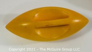 Six (6) Vintage Lemon Yellow Bakelite Bead Buttons.