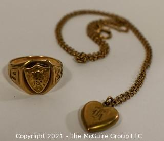 10 Kt Gold Filled Class Ring with Initials and Puffy Heart Pendant with Initial H on Chain.