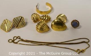 Group of 14 Kt Gold Marked Jewelry Parts & Pieces.  Weighs approximately 9.3 gr.