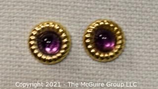"14 Kt Gold Round Stud Earrings with Purple Gemstone Center.  They measure approximately 1/2"" in diameter and weigh approximately .9 gr."