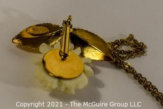 Gold filled & Lucite Flower Pendant on Chain.
