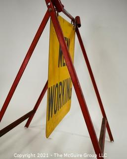 "Metal Easel Sign ""Men Working"" 19 X 27"""