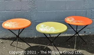 """MCM Collapsible """"Patio Tables""""; 19"""" diameters floral design and colors"""