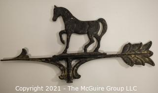 "Cast Metal Weather Vane Top with Horse. Measures approximately 20"" x 10""."