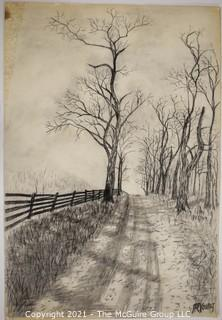 Road By Fence, Original Charcoal on Paper. Sarah Isabella Rockwell Young (1930-2016) Berkeley Springs WV.