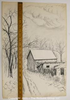 Footprints in Snow, Original Charcoal on Paper. Unsigned but attributed to Sarah Isabella Rockwell Young (1930-2016) Berkeley Springs WV.