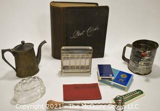 Ecclectic Group.  Includes Vintage Empty Postcard Book, Coin Bank, Thermometer, Playing Cards, Sifter, Glass Mold, Etc.