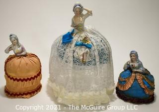 Three (3) Porcelain Pin Cushion Dolls, One Stamped Made in Germany.