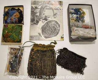 Vintage Beaded Handbags with Pattern Book and Glass Seed Beads.