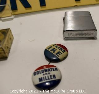 Manly Mix.  Includes German Sign (Attention, Enemy Is Listening), Lighters, and Political Pinback or Buttons.