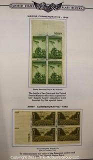Vintage Stamp Book for collecting Plate Blocks, many early plate block inside