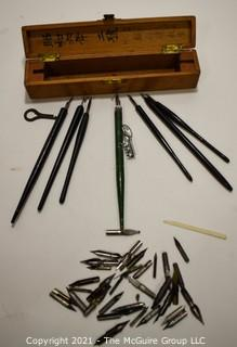 Collection of Calligraphy Pens and Nibs in Wooden Asian Box