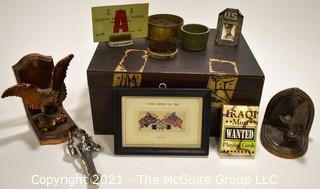 Eclectic collection Includes Military Items, Pin Frogs, Book Ends, etc
