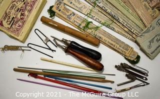 Collection of Vintage Threads; Needles; Rug Hooks, in original packaging
