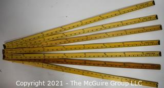 Collection of Wooden Yard Sticks (x7)