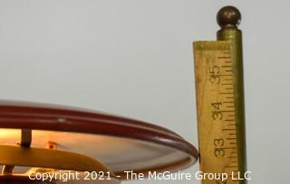 """Adjustable Red Metal """"Saucer-Style"""" Desk or Table Lamp"""
