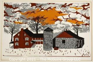 Original Wood Cut Print by Sarah Isabella Rockwell Young (1930-2016) Berkeley Springs WV. Farm and Silo