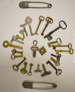 Collection of Vintage Keys and Laundry Safety Pins.