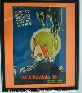 """Framed under Glass RCA Radiola 28 Radio Poster.  Measures approximately 27"""" x 22""""."""
