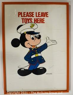 """Marine """"Toys For Tots"""" Walt Disney Mickey Mouse in Uniform Poster Signed by Famed Disney Illustrator,  Bob Moore (1920-2001)."""