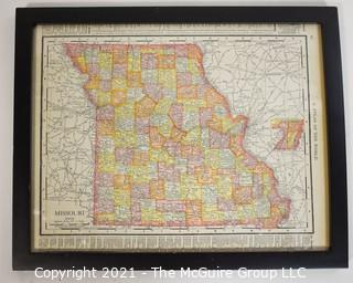 """Glass Framed page of Rand, McNallay & Co. Map of Missouri from """"Atlas of the United States"""""""