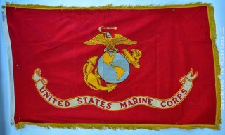 Vintage US Marine Corp Indoor/Parade Flag with gold fringe by Defiance Co.
