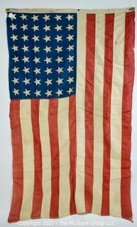 Vintage Machine Sewn 48 Star US Flag (some damage)