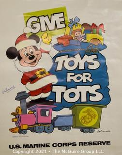 """U.S. Marines """"Toys For Tots"""" Walt Disney Mickey Mouse as Santa Poster Signed by Famed Disney Illustrator, Bob Moore (1920-2001). See also Lot # 102"""