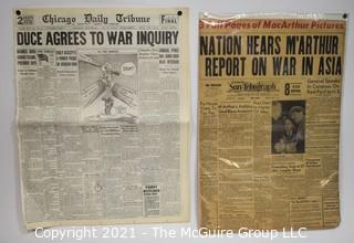 Historical: Vintage Newspapers 1935/1957 Pre-WWII and MacArthur