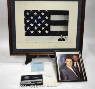 Group of Political Memorabilia.  Includes Framed Under Glass Sign Photo With Dedication from Caspar Weinberger to Bill Caldwell; Photo of Caldwell and Weinberger; Official Documents; Commemorative Weinberger Pen in Box