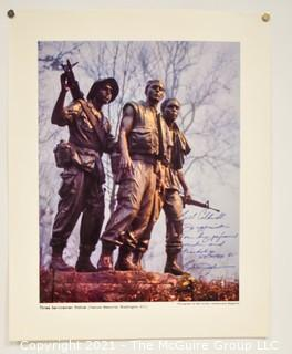 """Unframed Print """"The Three Soldiers"""" Vietnam Era; photo by Gob Jordan for Leatherneck Magazine, signed by photographer and dedicated to Bill Caldwell"""