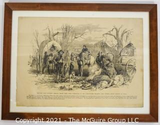 Glass Framed Vintage Lithograph, Civil War Era - Missouri Refugees