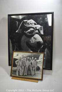 """Original Cast autographed photo of TV show """"Baa Baa Blacksheep"""" and framed photo of Meatball the Bull Terrier, mascot of the Black Sheep Squadron on the TV show """"Baa Baa Black Sheep"""""""