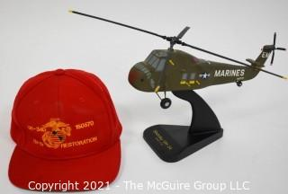 Professional Scaled Model of Marine Sikorsky UH-34 Helicopter on Stand. Hat commemorating the Restoration of the Helicopter.
