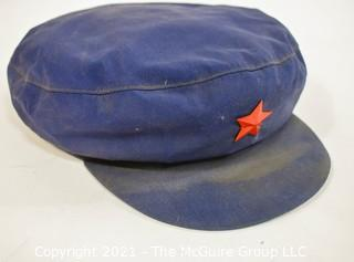 """Vintage Chinese Military Soldier PLA Type 65 Blue """"Mao Cap"""" With Red Star"""