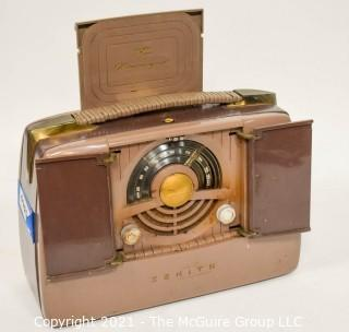 """Vintage Zenith Radio Model 6G801 """"Pop-Up"""" Portable Radio in Working Condition.  Plug has been repaired."""