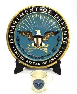 "Official Fiberglass Department of Defense Emblem Podium Emblem.  Measures approximately 17""d and DOD coffee mug with named SWAT team member"