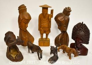 Vintage Ethnographic Wood Carvings from Africa & Tibet.