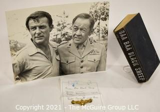 "Historical, Military TV: Memorabilia: Robert Conrad and Pappy Boyington photo; book ""Baa Baa Black Sheep"", Flight Wings"