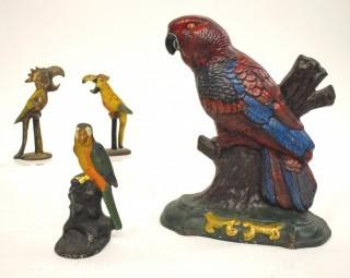 Selection of Cast Iron Tropical Bird Figurines and Door Stop.