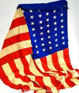 Vintage WWII Cotton Stiched Federal ArtGlo Brand US Flag (48 stars).  Wear from age and use.