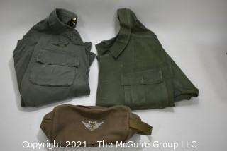 """Collectible: Militaria: Vietnam Era: two vintage 1960's khaki blouses and """"Air Crew"""" ditty bag. One is 'rip-stop"""" one is cotton"""