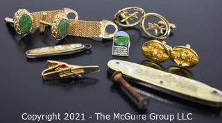 Collection of Men's Jewelry: Cuff-links, pocket knives (Rome)(Marines)
